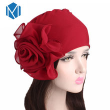 MISM Big Flower Chiffon Hijab Bandana Women Cap African Turban Boho Head Wrap Hippie Summer Head Scarf Muslim Foulard Femme(China)