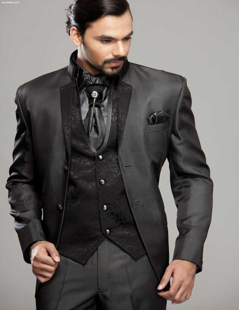 2018 Charcoal Mens Tuxedo Jacket Groom Tuxedos Wedding Suits Prom Best Men Suit