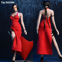 Toys 1/6 Scale Vstoys 18XG14 Ada Wong Sexy A Red Evening Dress Halter Skirt Cheongsam Costume for 12 inches Action Figure DIY