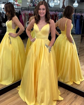 New V-Leck Yellow A-Line Evening Dress Sleeveless Backless with Pocket Floor lengtht Appliques Prom Dress Custom Made