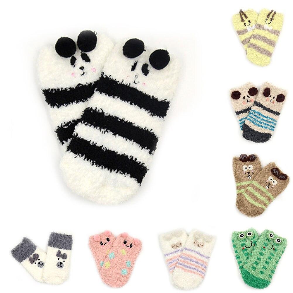 Warm Boys Girls Short Sock Colorful Infant Socks Kids Floor Sock Coral Velvet Family Socks Children Clothing Winter Christmas