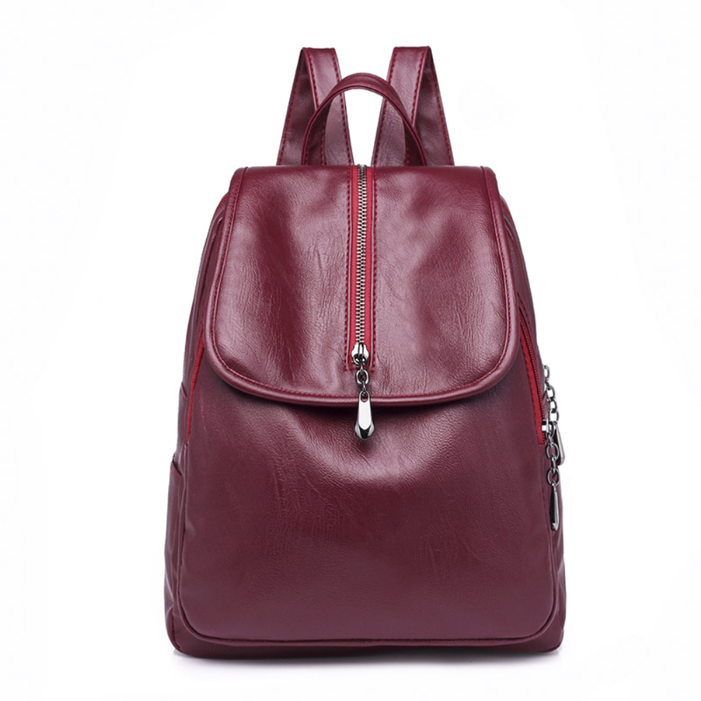 Fashion Women Magnet Buckle Faux Leather Backpack Travel School Shoulders Bag
