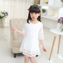 купить girls dress 2019 new summer lace dress white large size children clothing 2 3 4 6 8 10 12  years old baby girl clothes дешево