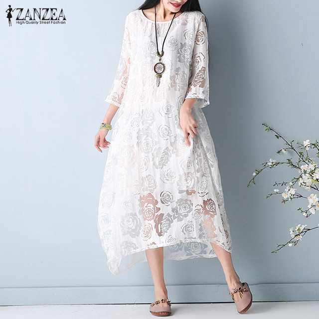 Fashion Women 2018 ZANZEA Lace Perspective Sundress O Neck 3/4 Sleeve Summer Casual Solid Mid-Calf Dress Ladies Kaftan Vestido