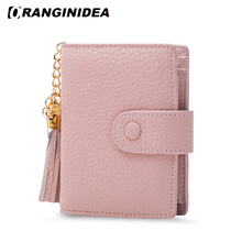 Genuine Leather Women Coin Purse Change Short Purses 16 Credit Card Holder Wallets with Tassel tarjetero porte carte carteira