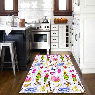 Else Blue Sea Wave Ice Cream Summer Fuits 3d Patterned Print Non Slip Microfiber Kitchen Modern Decorative Washable Area Rug Mat
