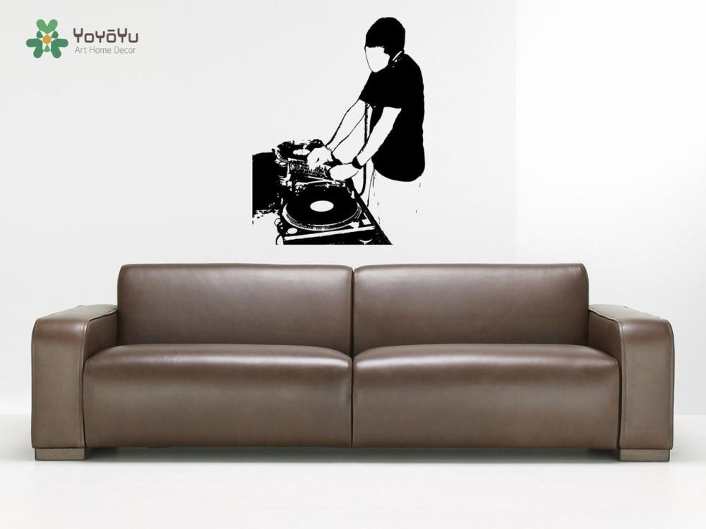 Наклейка на стену винил Стикеры DJ электронные Rave дом техно EDM электронная музыка смешивания Remix Настенный декор Книги по искусству Дизайн об...