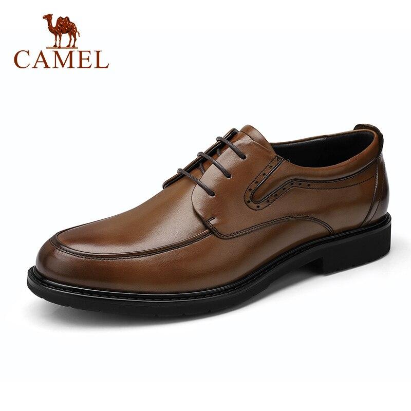 الجمل الأزياء حذاء رجالي الرجال الرسمي اللباس أحذية مريحة جلد طبيعي عدم الانزلاق الاتجاه ديربي أحذية-في أحذية رسمية من أحذية على  مجموعة 1