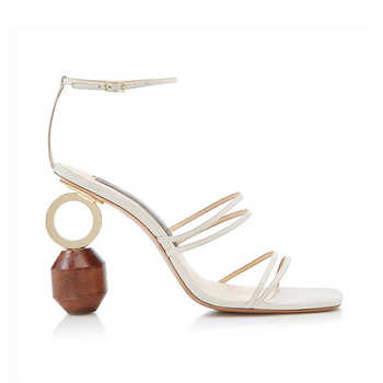 2018 New Hot Building blocks asymmetric Heel Gladiator Sandals Women open toe ankle strap Special high heels Summer party Shoes