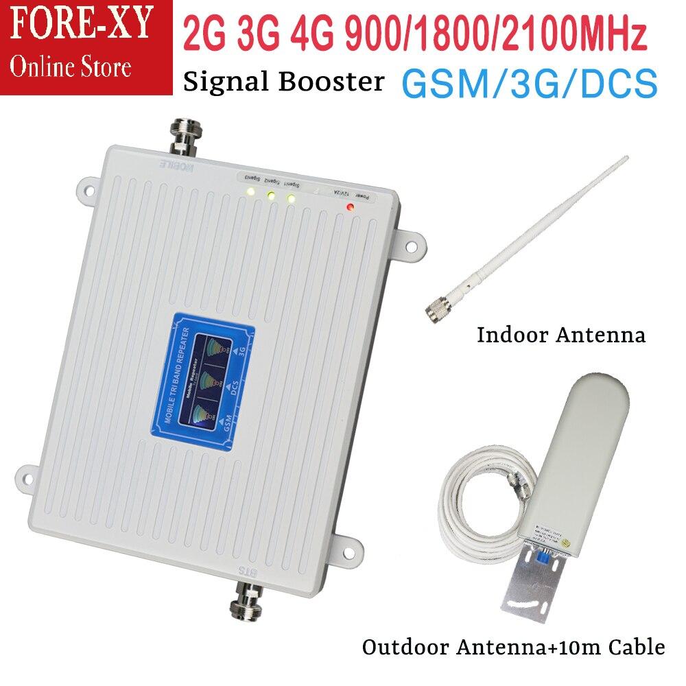 Nouveau 900 1800 2100 Booster répéteur à trois bandes 2g 3g 4g amplificateur de signal intérieur pour antenne d'affichage lcd mobile