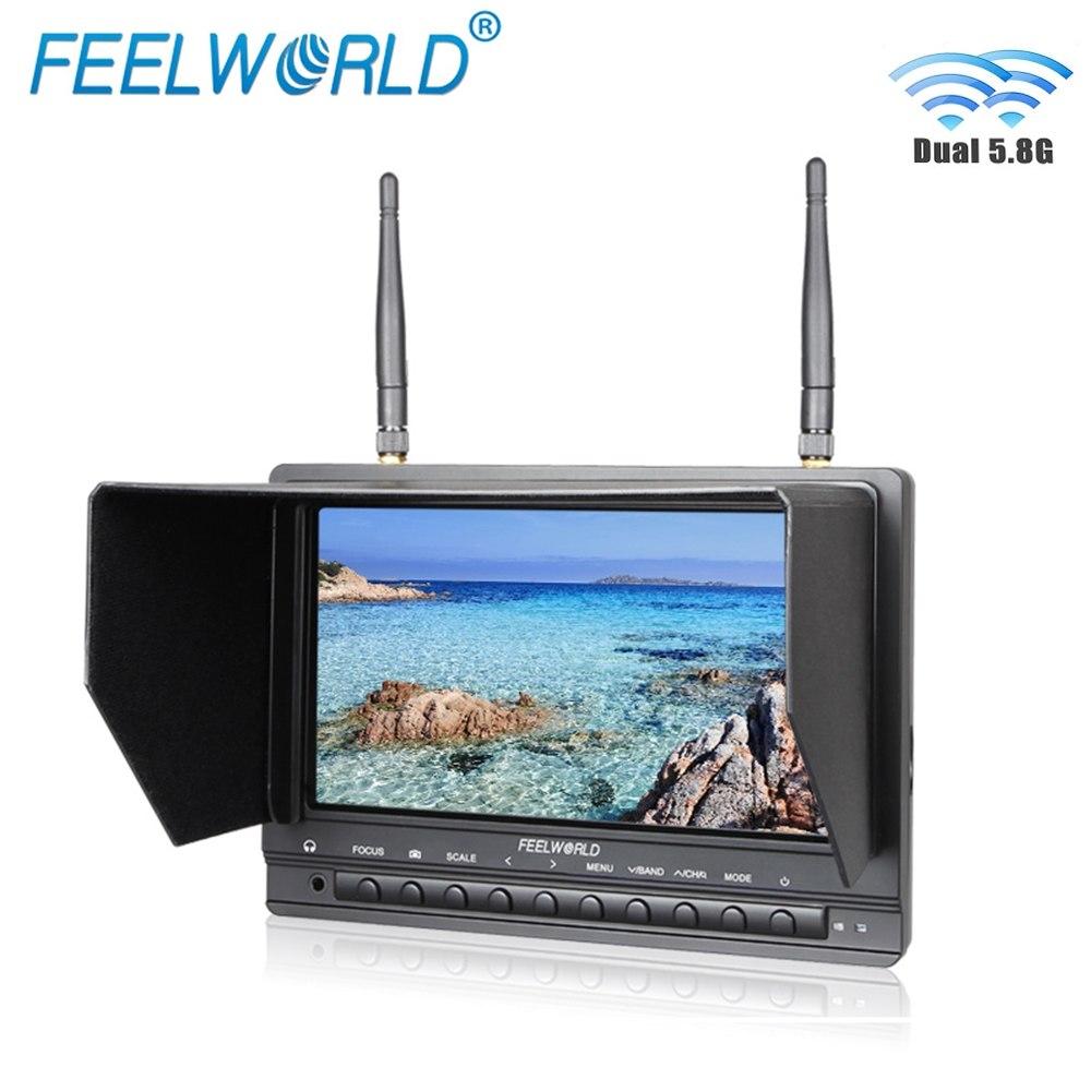 "Feelworld FPV733 7"" 800x480 Resolution FPV Monitor with Dual 5.8G 32CH Diversity Receiver Drone UAV Monitor 1000 Nits Brightness"