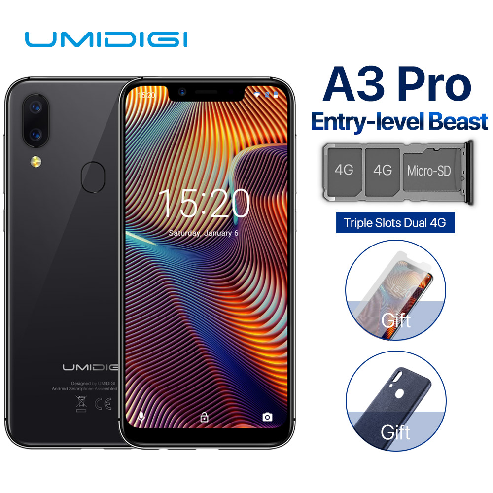 "UMIDIGI A3 Pro 5.7""19:9 FullScreen smartphone 3GB+32GB Quad core Android 8.1 12MP+5MP Face Unlock Dual 4G Cell phone"