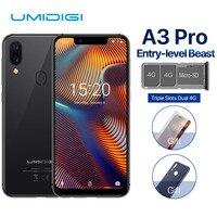 UMIDIGI A3 Pro Глобальный двойной 4G Sim смартфон 5,7 19:9 полный Экран мобильного телефона Android 8,1 3 + 32 г Face ID сотовые телефоны с идентификацией по отпеч
