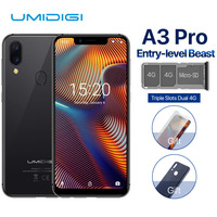 UMIDIGI A3 Pro Global Dual 4G Sim Smartphone 5.719:9 Full Screen Mobile Phone Android 8.1 3+32G Face ID Fingerprint Cell Phones