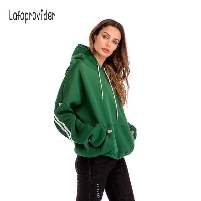 067f890a093 Lafaprovider Women Hooded Hoodies Sweatershirt Loose Plus Size Arm White  Strip Streetwear Women s Black And Green Clothing