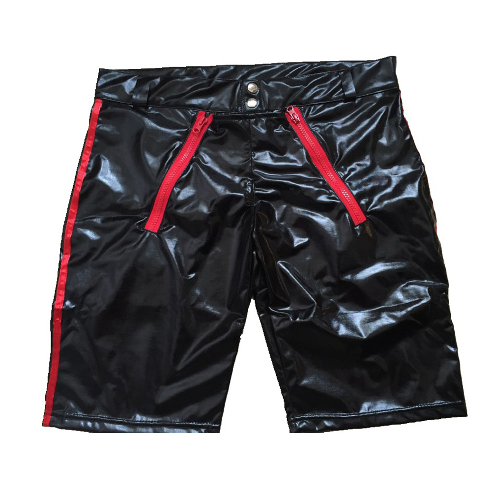 Sexy Men Patent Leather Zipper Tight Shorts Wetlook Clubwear