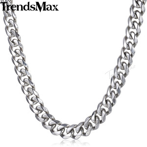 Image 4 - Trendsmax Matte Brushed Polished Necklace Mens Chain 316L Stainless Steel Cut Curb Cuban Link Silver Color Tone 15 mm KHNM18