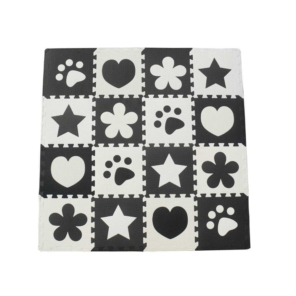 10 قطعة أسود أبيض الطفل تلعب حصيرة إيفا رغوة سجادة ألغاز الكرتون المتشابكة الحصير للأطفال الزحف رياضة البساط 30X30 سنتيمتر 1 سنتيمتر سميكة الأولاد