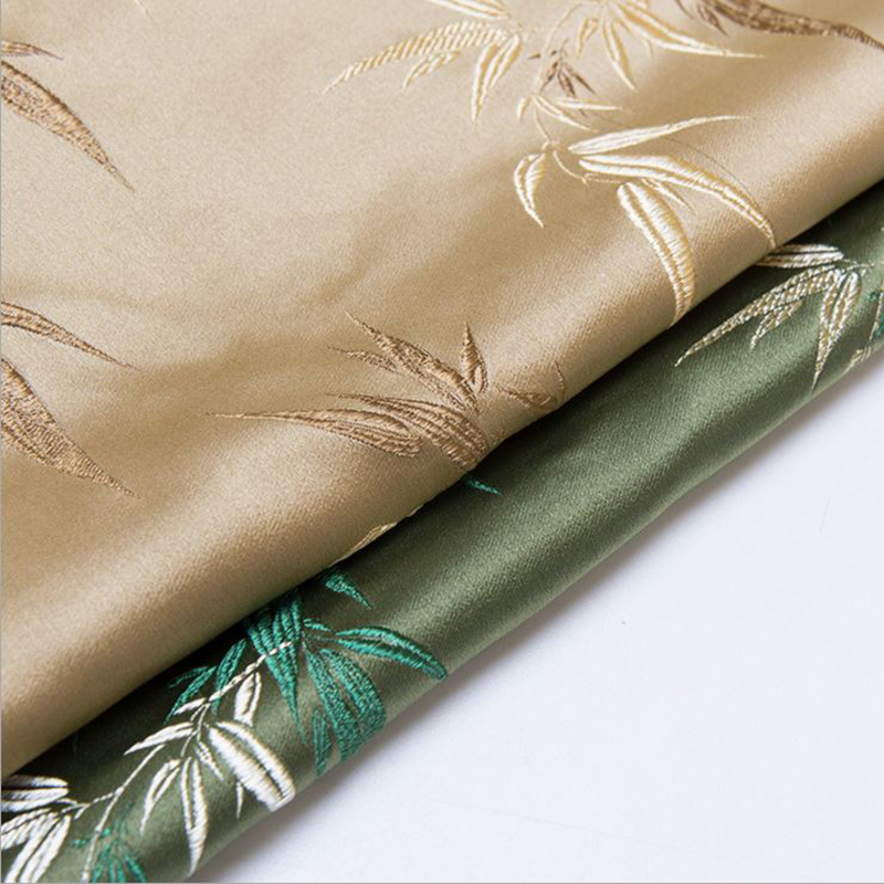 new arrival polyester brocade bamboo leaf fabric for patchwork felt tissue telas dress bed sheet children cloth coat 100x75cm