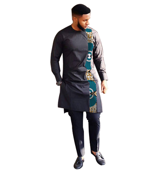 Fashion African Print Clothing Men Tops+Trousers Set Shirts And Pants Sets Festive Costume African Men Clothes Customize 1
