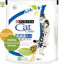 Корм Cat Chow Special Care 3 in 1 для кошек 3 в 1: профилактика МКБ, зубного камня, вывод шерсти, Мясо, 4*400 гр.