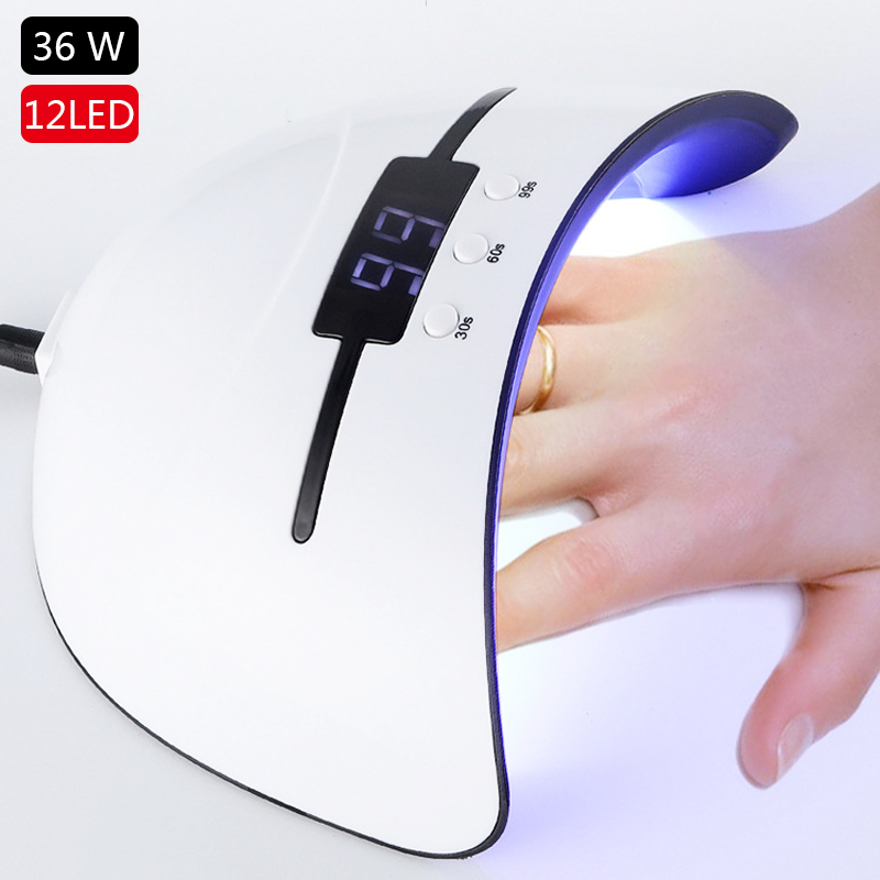 36W Nail Lamp Nail Dryer For All UV Gel Polish 12 Leds UV Lamp For Nail Machine Curing 30/60/90s Timer USB Portable Sensor Lamps