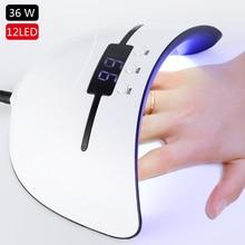 36 Вт УФ-лампа Сушилка для ногтей для всех типов гель 12 светодиодов УФ-лампа для ногтей машина отверждения 30 s 60 s 90 s таймер USB портативные УФ-лампы