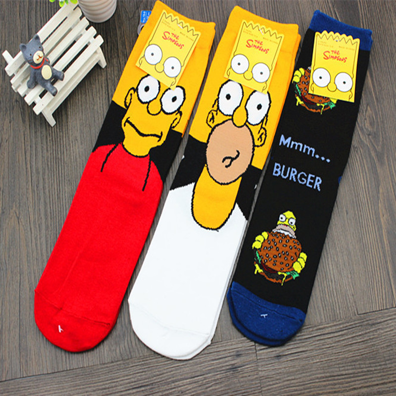 Personality funny Anime   socks   Fashion Cartoon happy Men women   Sock   novelty high quality Stitching pattern cotton crew skarpety