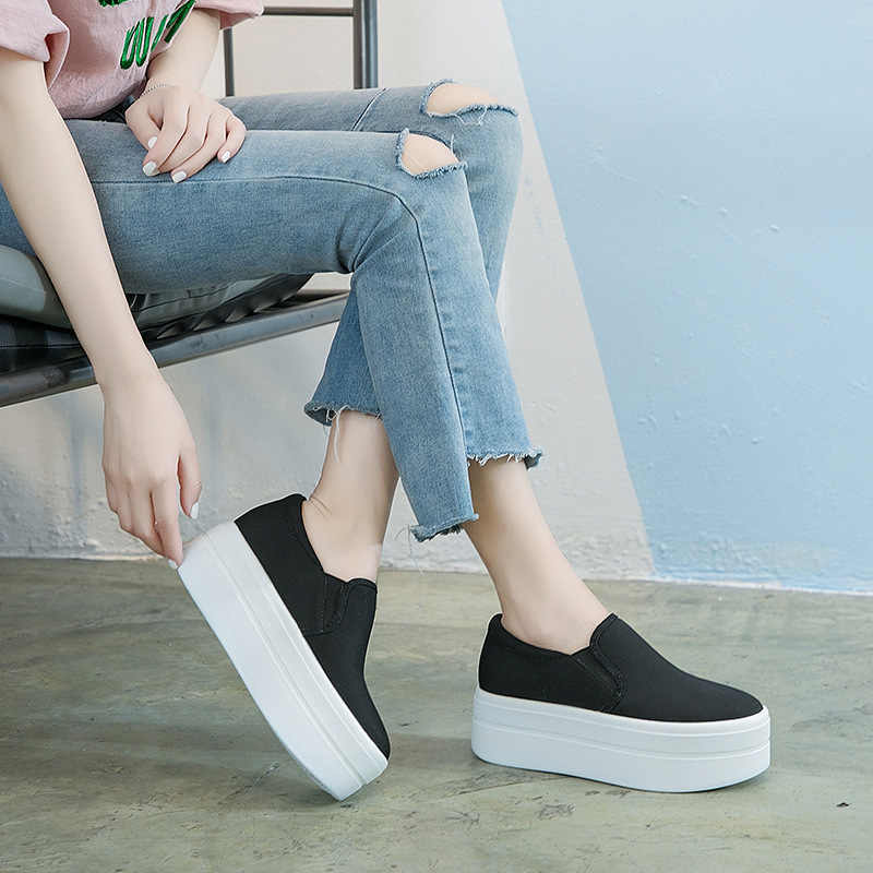 women flat platform canvas shoes canvas