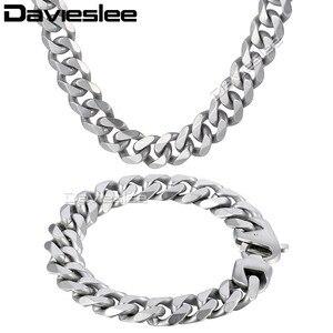 Image 2 - Daiveslee Matte Heren Ketting Armband Sieraden Set 316L Rvs Ketting Zilver Kleur Curb Cubaanse Link DHS42