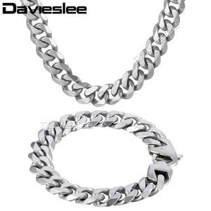 Image 2 - Daiveslee Matte Herren Halskette Armband Schmuck Set 316L Edelstahl Kette Silber Farbe Curb Cuban Link DHS42