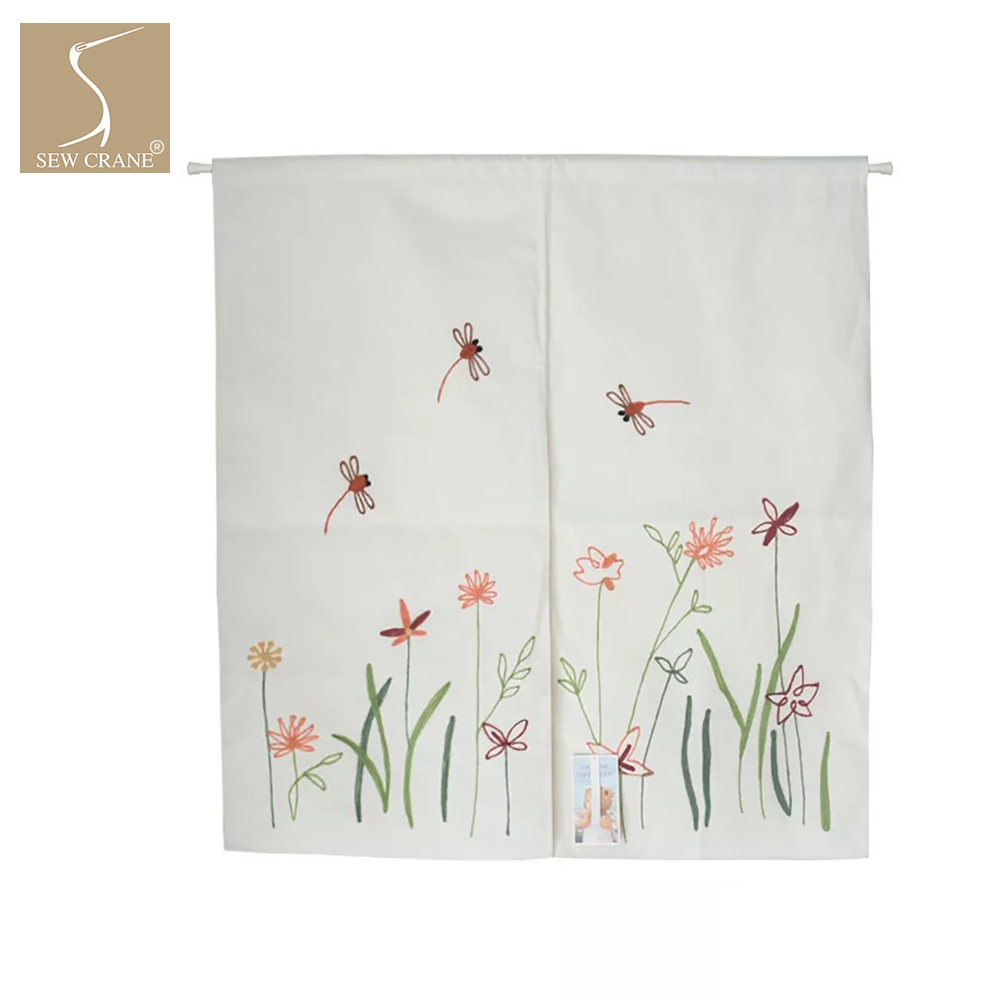 Floral Embroidered Design Dragonfly Abstract Vine Flowers Cute House Linen Noren Curtain Room Dividers Doorway Window Tapestries