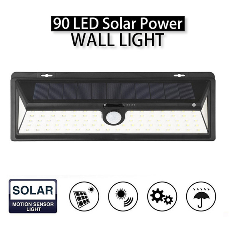 Mising IP65 Waterproof 90 LED Solar Light 2835 SMD White Solar Power Outdoor Garden Light PIR Motion Sensor Pathway Wall Lamp