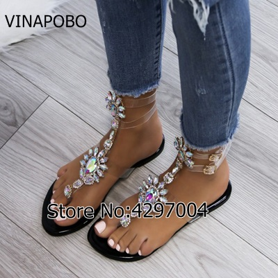 aa430a21e6e5c Vinapobo Flip Flops Women Flat Gladiator Sandals Bling Crystal Casual Shoes  Woman 2018 Summer Beach Flats