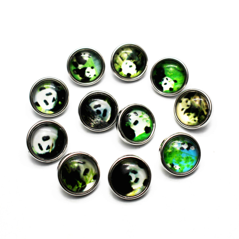 Mixs 10pcs/lot Panda <font><b>Snap</b></font> <font><b>Buttons</b></font> <font><b>12mm</b></font> Animal Small Glass <font><b>Snap</b></font> Charms Fit Children DIY <font><b>Snap</b></font> Bracelet Bangles <font><b>Jewelry</b></font> image