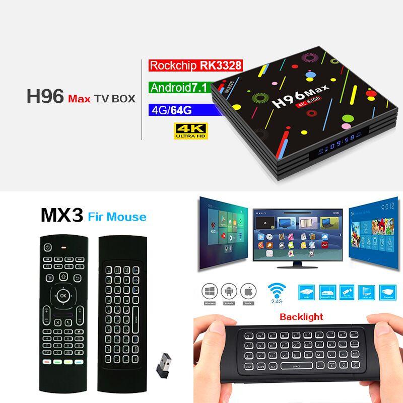 H96 MAX H2 Android 7.1 Smart TV box Rockchip RK3328 Quad-core 4 gb 32 gb 64 gb Bluetooth 4.0 Media Player pk X92