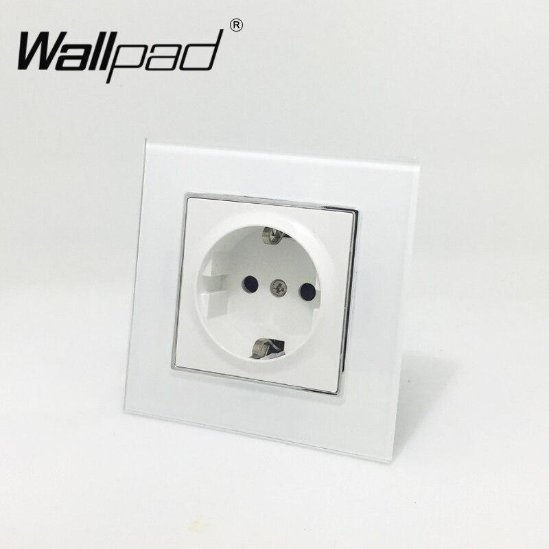 EU Standard Socket with Claws Wallpad White Glass Panel Schuko EU European Standard Plug Wall Power Socket with Haken