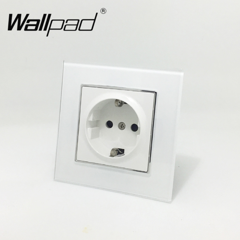 EU Standard Socket with Claws Wallpad White Glass Panel Schuko EU European Standard Plug Wall Power Socket with Haken цена и фото