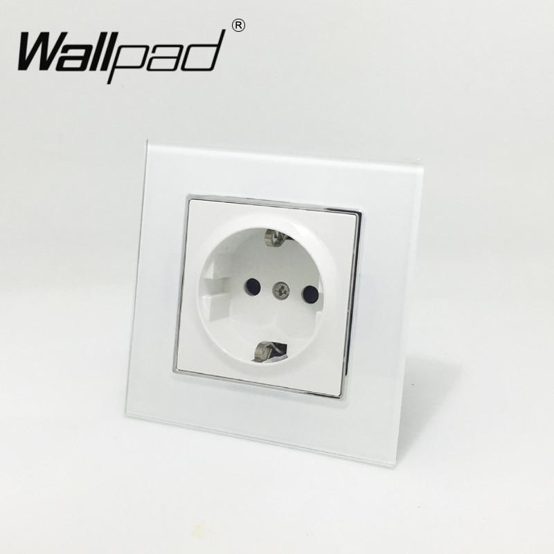 EU Standard Socket with Claws Wallpad White Glass Panel Schuko EU European Standard Plug Wall Power Socket with Haken цена 2017