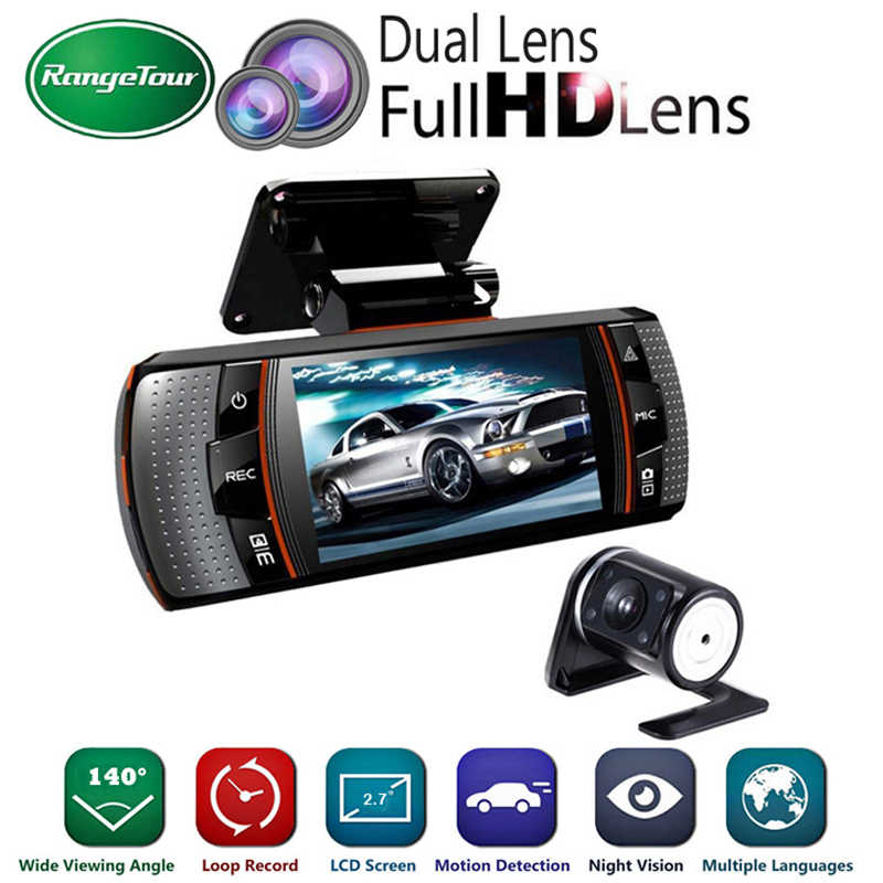 "Dual Lens Mini Auto DVR Vehicle Camera Video Recorder Full HD 1080 P 2.7 ""LCD Nachtzicht Dash cam met Achteruitrijcamera Parking"