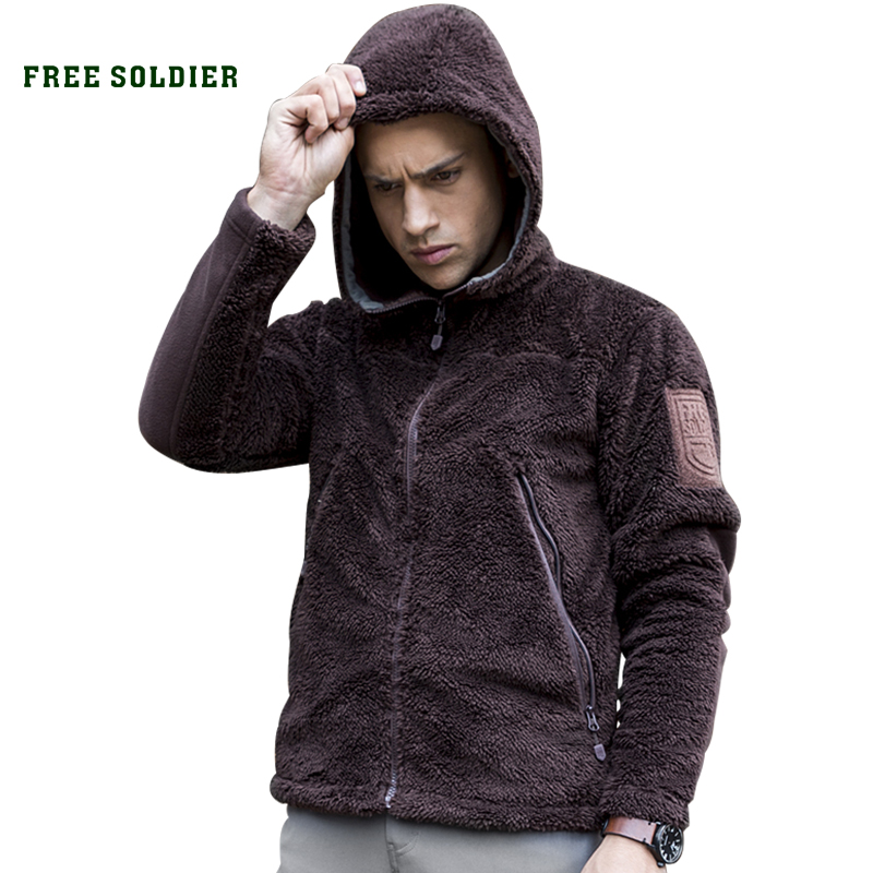 FREE SOLDIER Outdoor Tactical Military Men's Jacket warm cloth with Fleece For Camping Hiking fleece lined jacket with epaulet