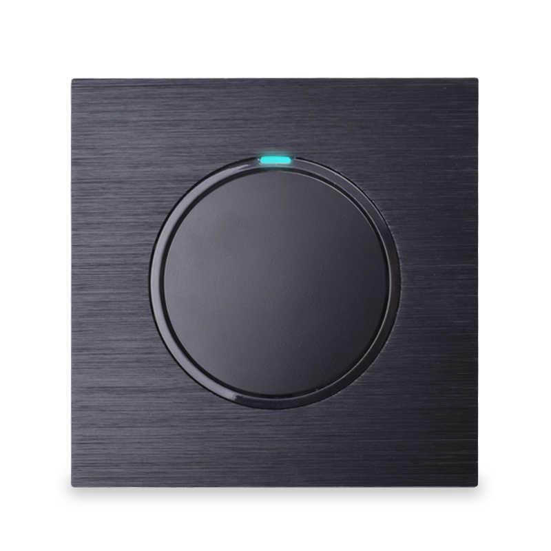 Pulsador de clic aleatorio de interruptor de luz de pared de lujo al por mayor con indicador LED Color negro 1 Gang 1 Way AC 110 ~ 250V