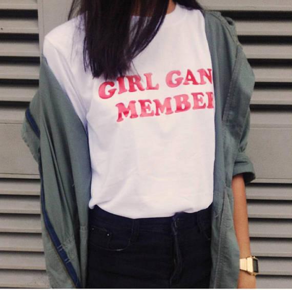 GIRL Power Sweater Maglione da Donna Top Divertente Tumblr Hipster Grunge femminista Rose