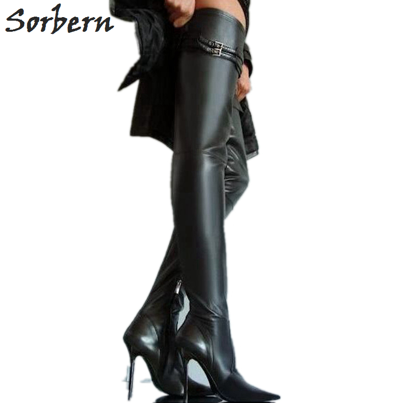 Sorbern Size 32-49 Stilettos High Heel Metal Boots Women 10Cm 12Cm 14Cm Thin High Heels Ladies Shoes Thigh High Boots Plus Size sorbern matt stilettos metal heels 12cm boots women black over the knee boots women shoes size 44 custom plus size leg boots