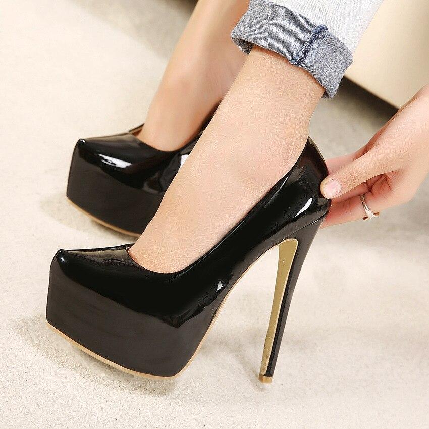 где купить Big Size 35-44 brand women Super High Heels 15cm shoes platform shoes pumps Wedding Party lady patent leather sexy shoes MC-42 по лучшей цене