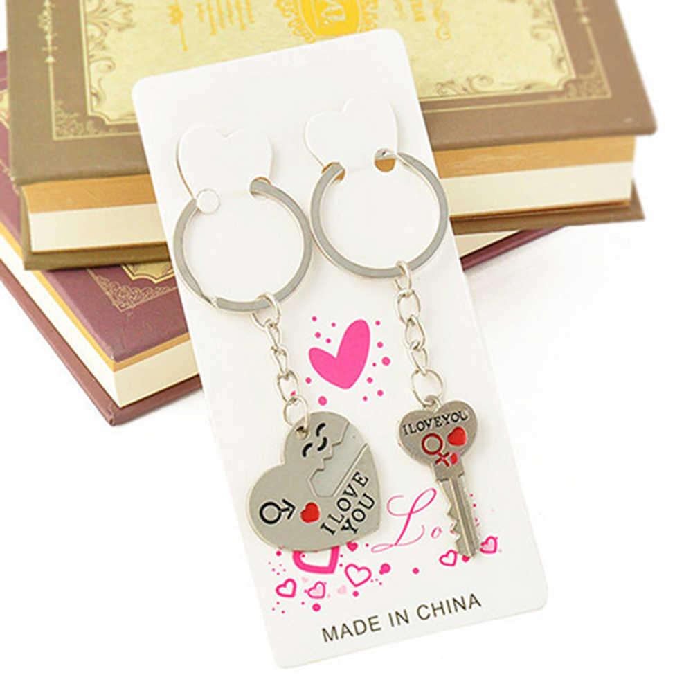 Moda Sorriso Que Eu Te Amo Coração Chave Chaveiro Romântico Chaveiro Presente do Amante Dia Dos Namorados Coração Chave Set Para Homens mulheres