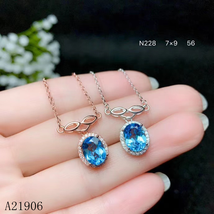 KJJEAXCMY Fine Jewelry 925 sterling silver inlaid natural topaz gemstone female necklace pendant set support reviewKJJEAXCMY Fine Jewelry 925 sterling silver inlaid natural topaz gemstone female necklace pendant set support review