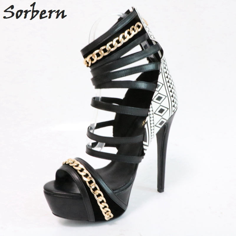 Sorbern Gladiator Style Summer Sandals For Women Strappy Heels Formal Sandals High Heel Platform Shoes Plus Size Shoes Women sgesvier european style ankle strap women summer shoes wedges high heels sandals platform causel shoes plus size 34 43 vv431