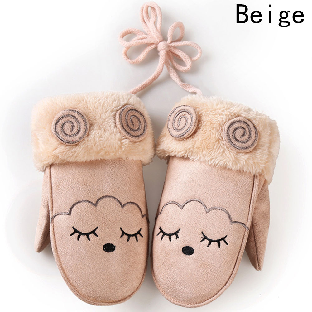 Fashion Lovely Children's Winter Thick Cashmere Warm Cartoon Rabbit Bear Suede Leather Gloves Boy/Girls Faux Sheepskin Glove