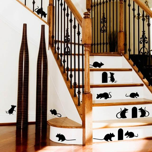 Removable PVC Mouse Holes U0026 Mice Cat Wall Stickers Stairs Graphic Any Home  Room Wall Staircase